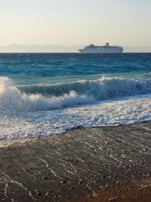 Ocean liner on her way leaving Rhodes Town
