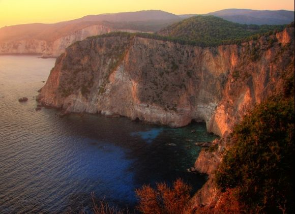 Keri cliffs in sunset lights