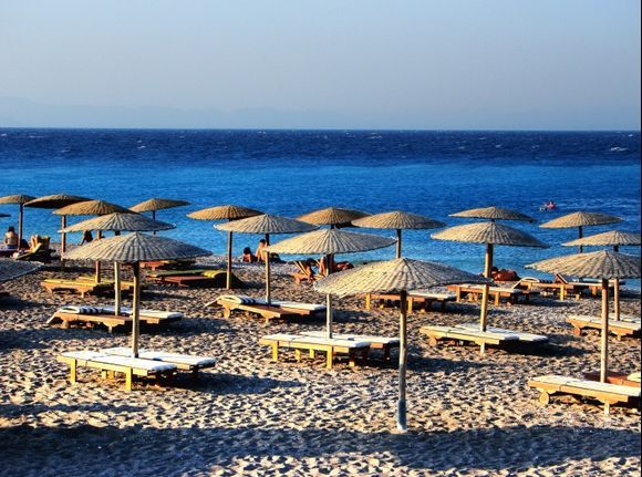 Beach in the North point of Rhodes Town during sunset