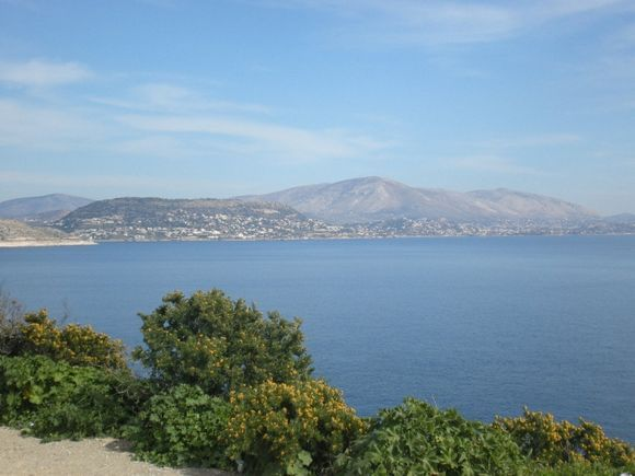 Varkiza, town and mountain across the sea