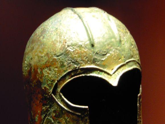 Cyclades museum,Athens. Bronze corinthian helmet.