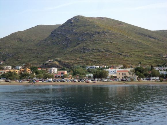 Korissia Beach from boat