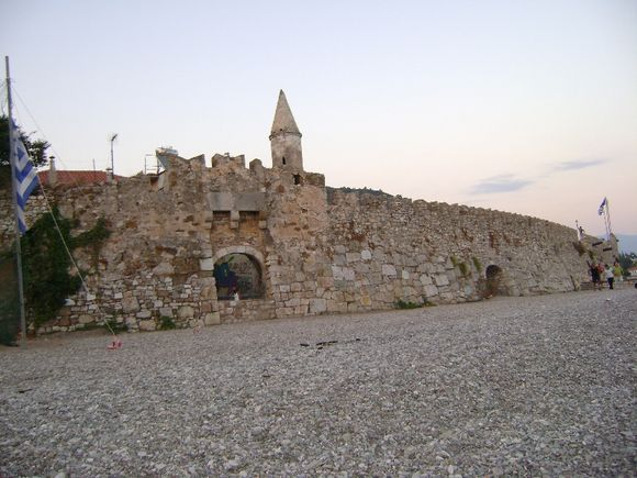 The old port of Nafpaktos as seen from the pebbled beach in front