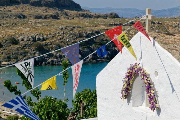 Lindos  A church above the bay