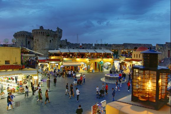 Rhodes old town in the evening.