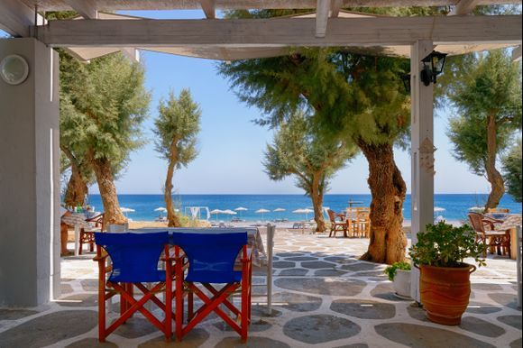 A part of the beach of Gennadi seen from a nice taverna