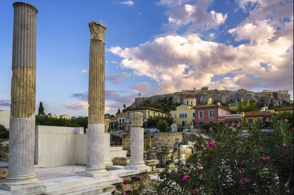 Shot right off Monastiraki Square in Athens. In the foreground we have the ruins of Hadrian's Library complex, then neoclassical structures typical to Plaka and among them the Church of Panagia Grigorousa. The Acropolis of Athens, of course, dominates the background.