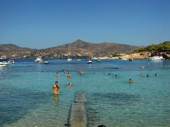 Swimming at Moni, in the background Aegina island.