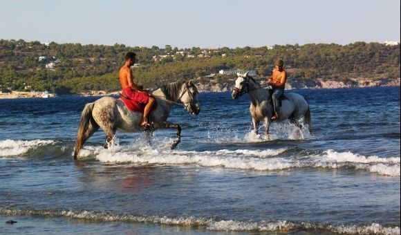 Horse Riding at the beach of Vlichada, next to Aghia Marina.