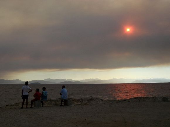 The sky in time of wild fires on the main land.