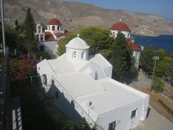 Agios Savvas monastery; a white church
