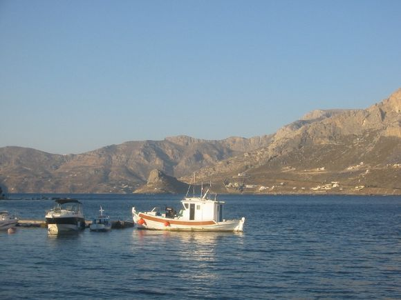 A small boat at the port of Telendos