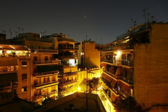 Athens cityscape by night