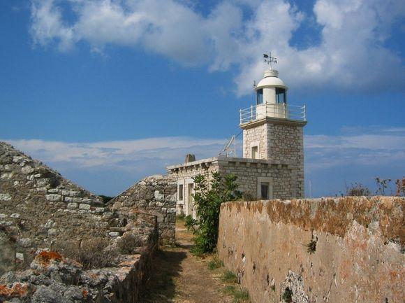 The lighthouse on the castle of Ayia Mavra, Lefkada