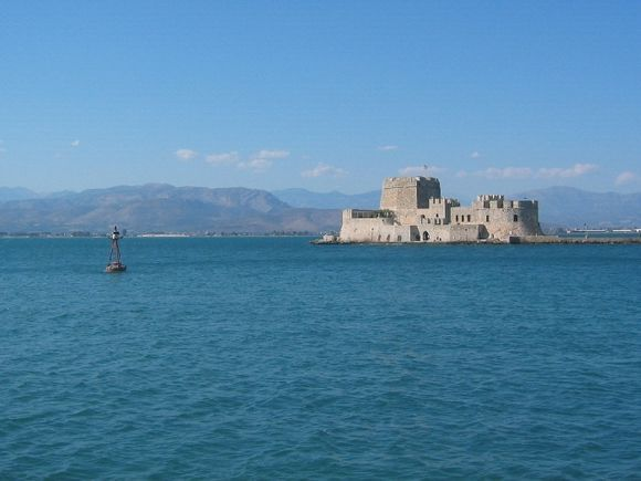 The castle of Bourtzi in the middle of the harbour of Nafplion