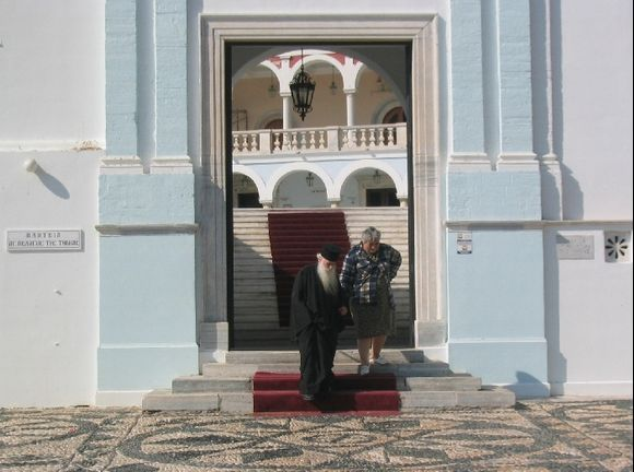 Leaving the Panagia Evangelistria Church in Tinos