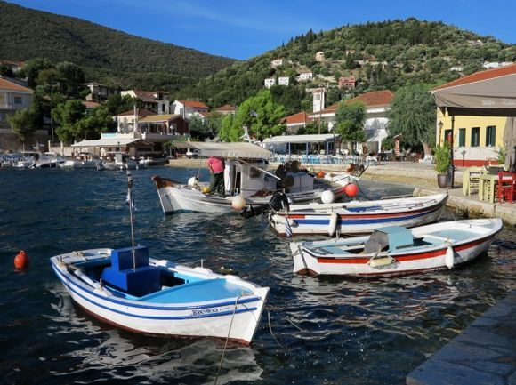 Fishing boats in the harbour of Kioni