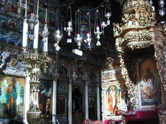 The ornate interior of the Church of Panagia Evangelistria of Tinos